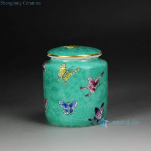 RYMY22 Air tighten gold rim green famille rose hand paint butterfly pattern ceramic tin jar for tea leaf