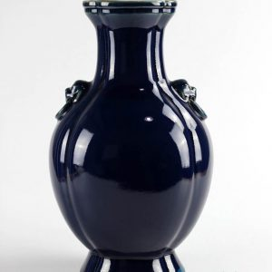 RYUU12 manufacture on line sale dark blue ceramic flower vase with lion head ring