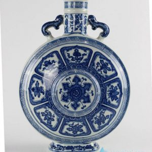 RYUU16 Special blue and white eight treasures pattern china ware moon flask