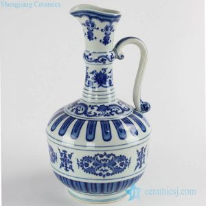 RYUU17 Western milk flask style blue and white porcelain water bottle