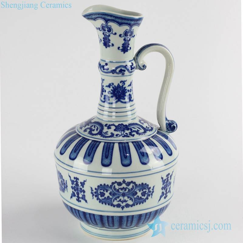 western milk flask style blue and white porcelain water bottle