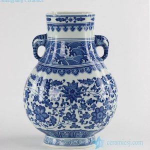 RYUU19 Large size elephant handles blue and white ceramic flower vase