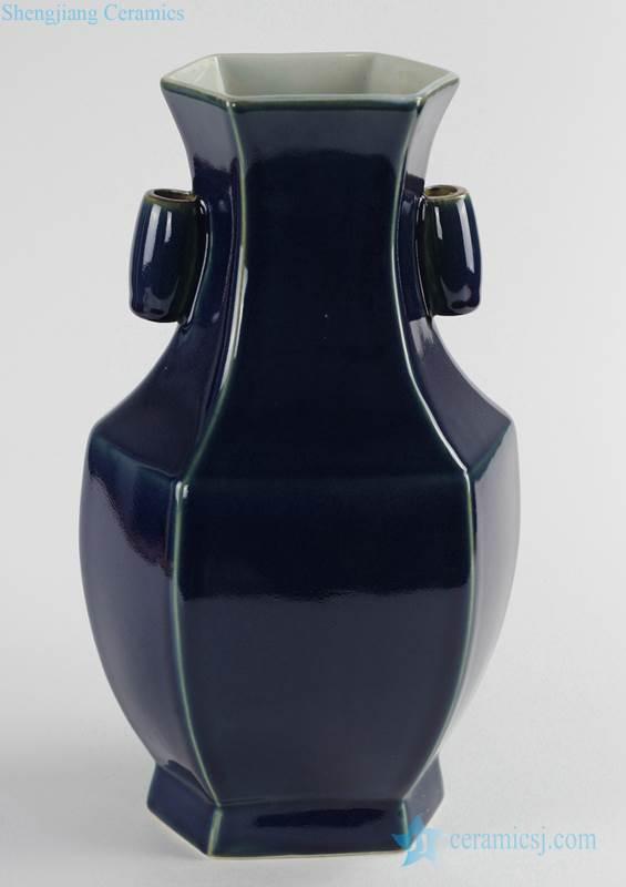 Indigo blue hexagonal ceramic plain color flower vase