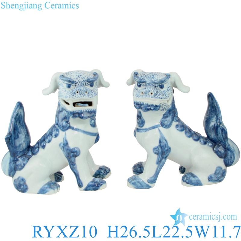 Chinese mythology blue and white ceramic dog statues RYXZ10
