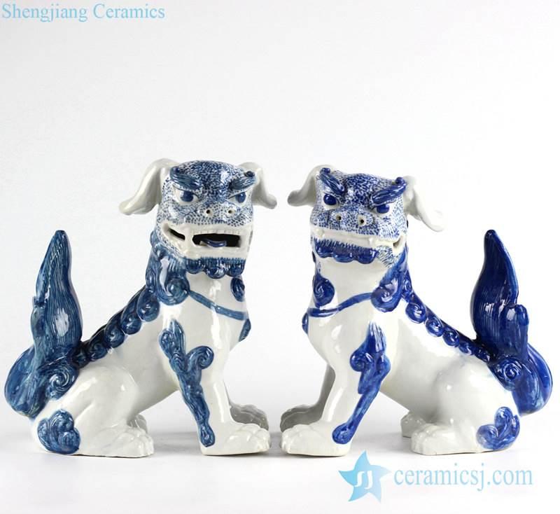 Chinese mythology blue and white ceramic dog statues