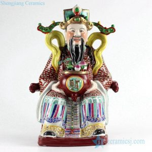 RYXZ14 Bright famille rose colored Jingdezhen China style the God of wealth figurine