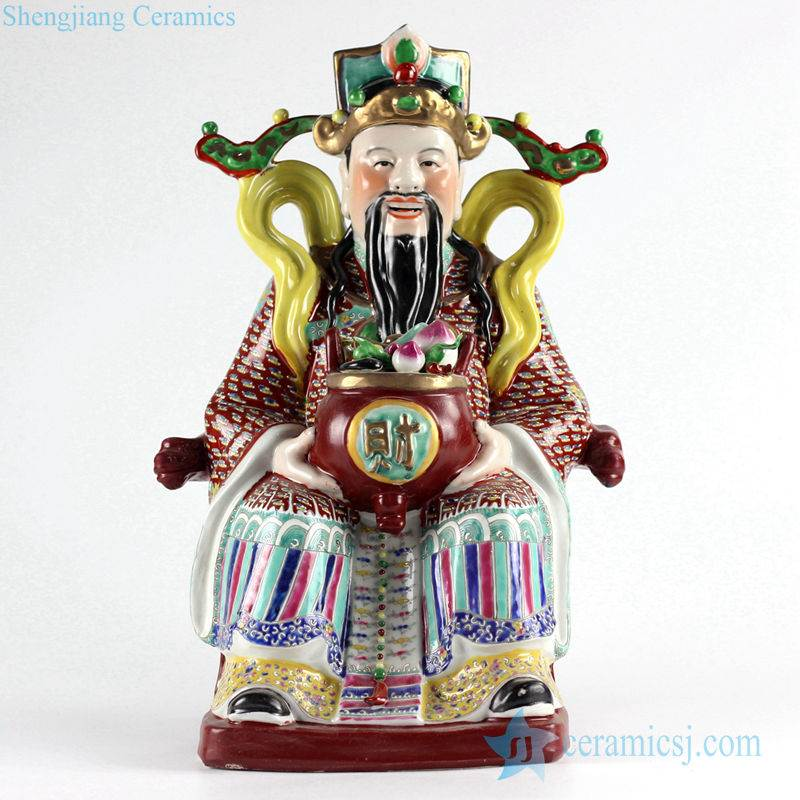 Jingdezhen traditional style famille rose the God of wealth figurine