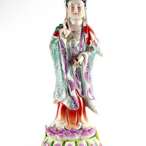 RYXZ16 Standing on lotus throne colored ceramic Avalokiteshvara figurine