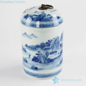 RZCC01-B hand paint landscape pattern cute size ceramic tea caddy with metal ring