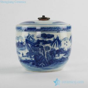 RZCC04-B fine art Asian scenery pattern blue and white porcelain lidded tea caddy