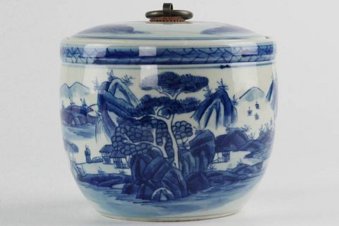 RZCC04-B fine art Asian scenery pattern blue and white porcelain lidded tea caddy