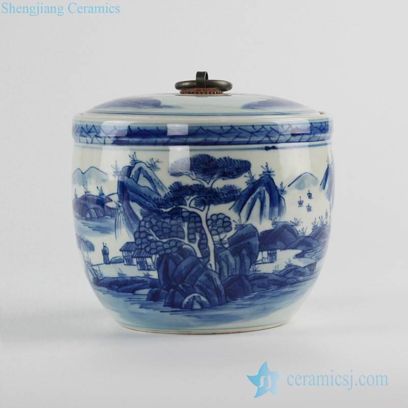 fine art Asian scenery pattern blue and white porcelain lidded tea caddy