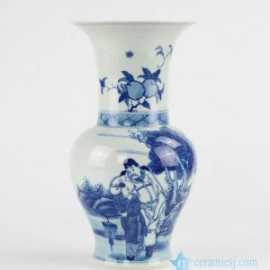 RZCC06 Art decor phoenix tail shape large open top hand paint China life style pattern ceramic vase