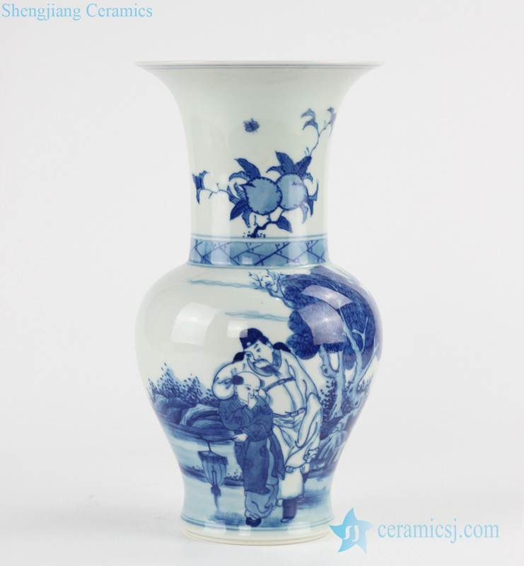 blue and white hand paint ancient Chinese pattern phoenix tail shape ceramic vase
