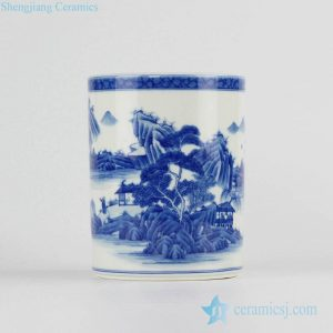RZCC07 blue and white scenic design hand paint ceramic pot