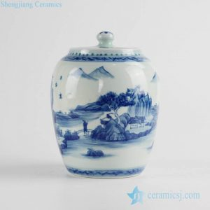 RZCC08 Wholesale price oriental scenic pattern sealed lid ceramic mini jar