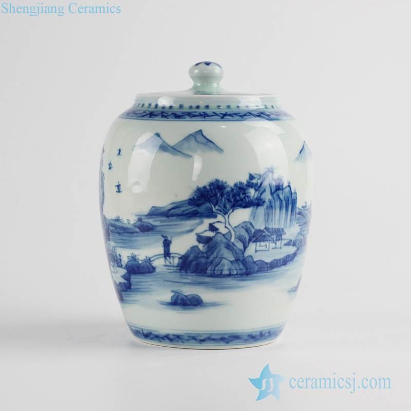 oriental scenic pattern sealed lid ceramic mini jar