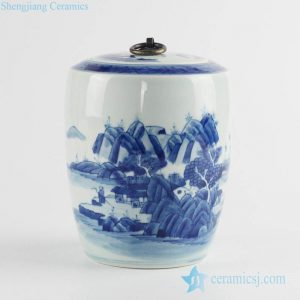 RZCC09 Blue and white tip top China scenic design metal ring lidded tea caddy