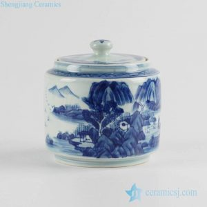 RZCC10 new arrival 2017 blue and white Asian scenic pattern ceramic grocery jar with lid