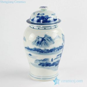 RZCC11 Art decor hand paint mountain and river pattern ceramic ginger jar