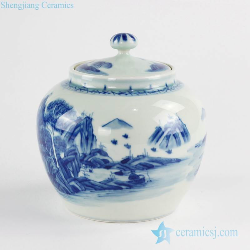 Online sale Chinese scenic view pattern hand craft ceramic spice jar