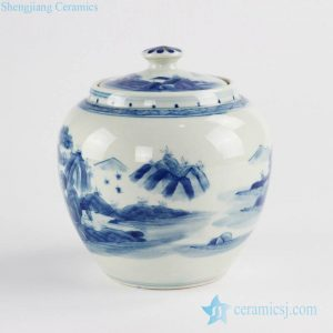 RZCC12-B Hand made hills and rivers pattern ceramic tea caddy