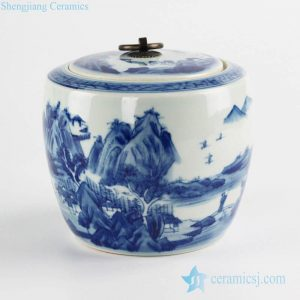 RZCC13 Metal ring lid high quality Chinese landscape design hand paint ceramic bottle