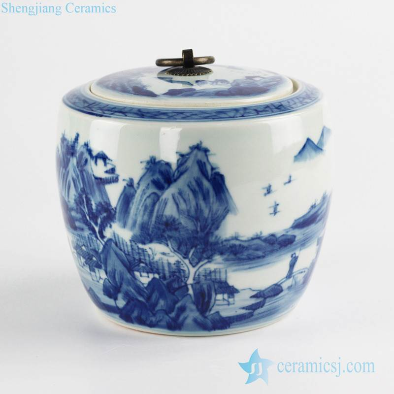 Flat lid blue and white round tea caddy jar for online sale
