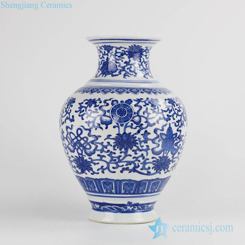 blue and white flower and vine pattern Chinoiserie flower vase