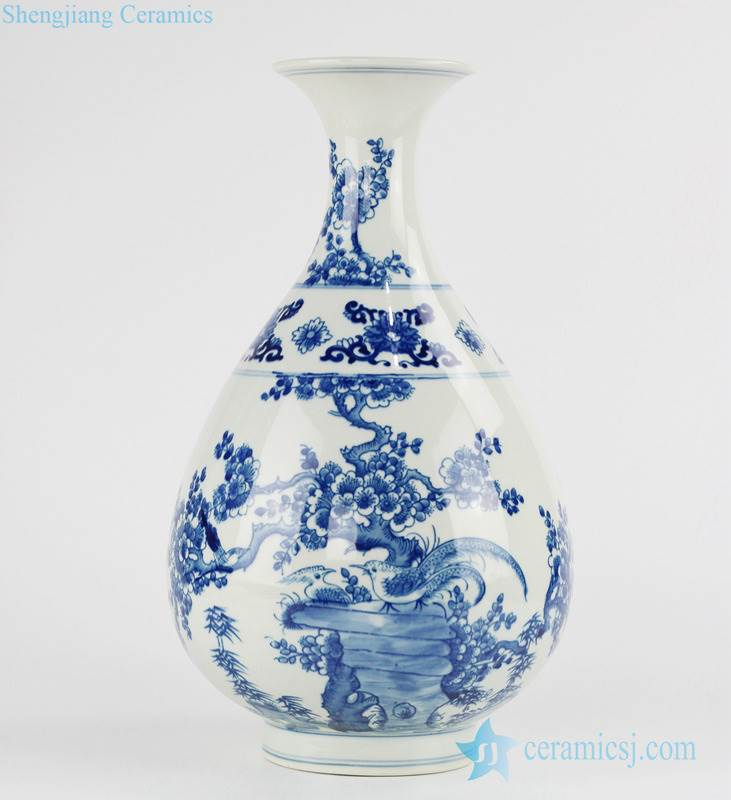 Classic Asian blue and white bird and flower hand painted porcelain sping bottle
