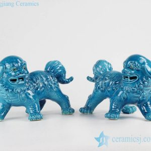 RZKC01 China original Pair of cerulean blue ceramic foo dog figurines