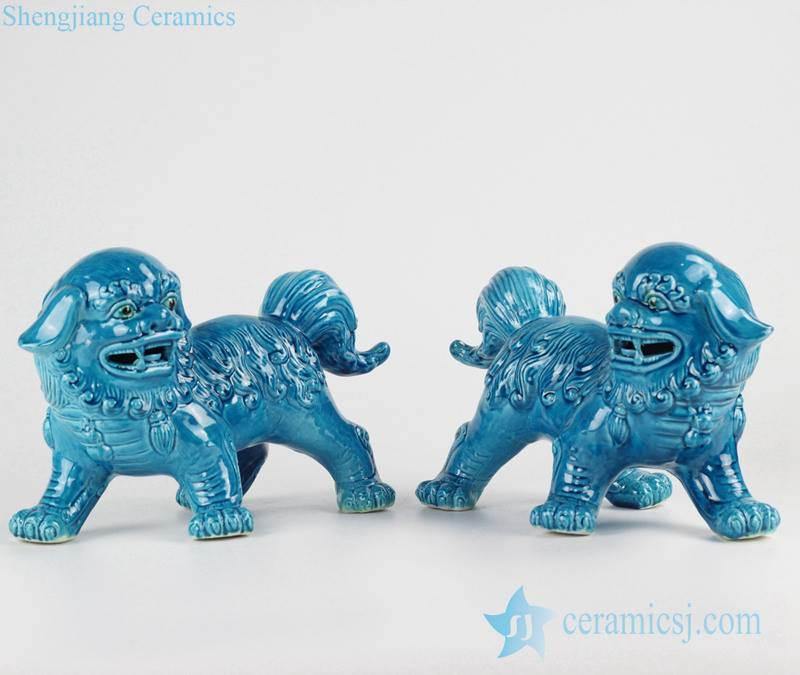 China original Pair of cerulean blue ceramic foo dog figurines