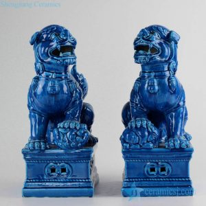 RZKC02 Delicate blue color glaze China mythology temple gate guard foo dog staute