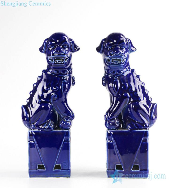 Chinese zodiac gift porcelain Foo dog book end in Indigo blue color