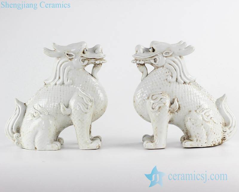 Chinese squat ceramic kylin in pure white color