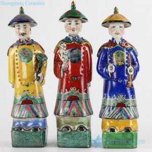 RZKC05 Colorful royal set of 3 emperors ceramic figurines