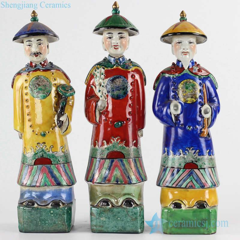 Colorful royal set of 3 emperors ceramic figurines