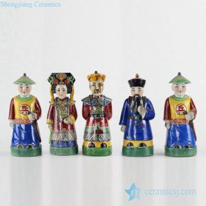 RZKC06 Set of 5 Chinese king and queen chancellor soldiers ceramic statue