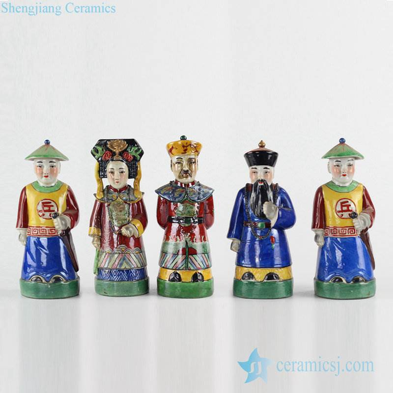 Set of 5 Chinese king and queen chancellor soldiers ceramic statue