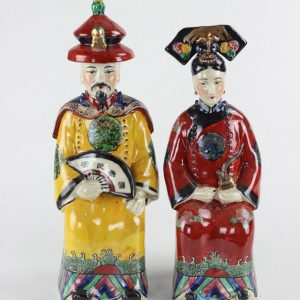 RZKC08 Asian style Qing Dynasty colored king and queen ceramic figurine