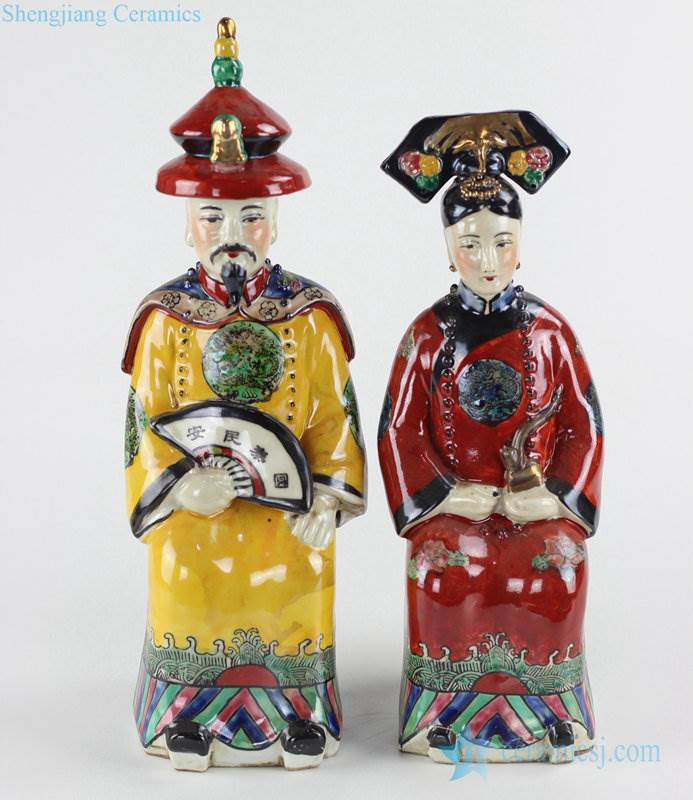 Asian style colored king and queen ceramic figurine