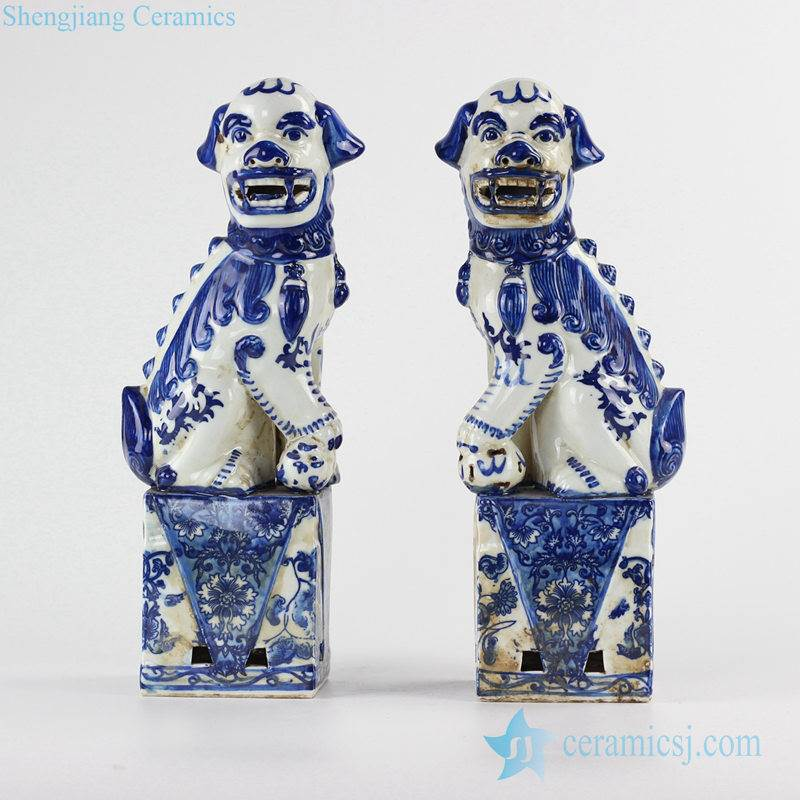 Blue and white color crouching foo dogs porcelain figurine