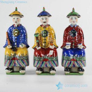RZKC10 Qing Dynasty emperor Kangxi Yongzhen Qianlong bright color sitting pose ceramic statue