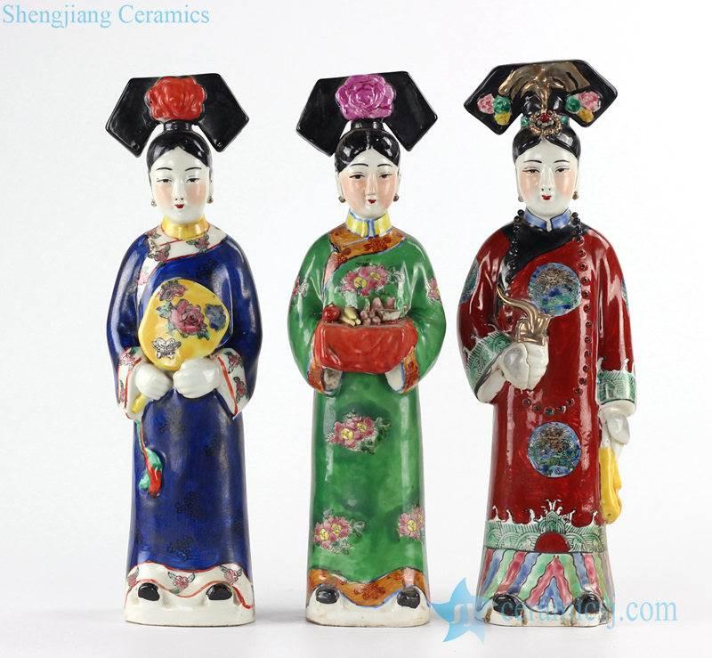 three maids of imperial ceramic sculpture