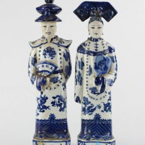 RZKC14 Home decor blue and white Chinese emperor and empress porcelain figurine