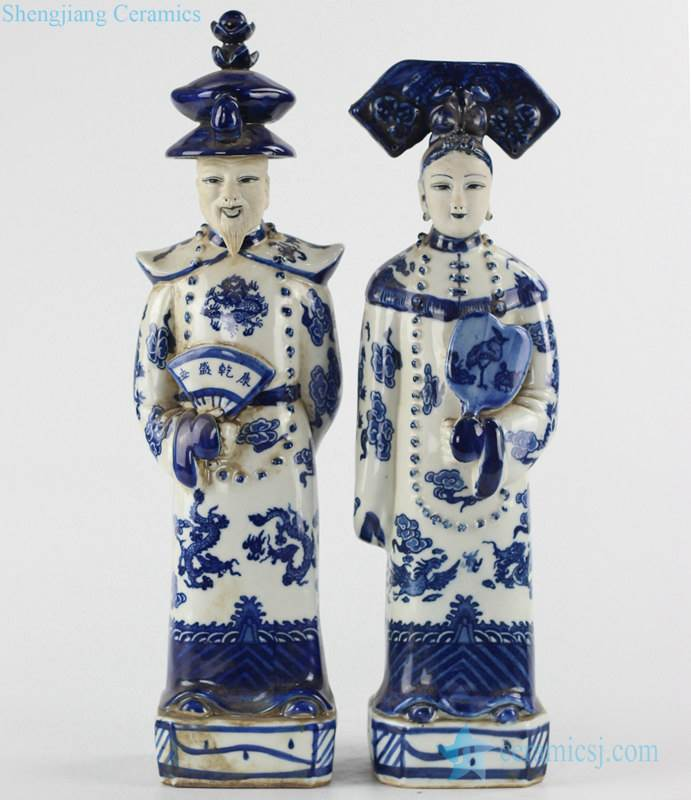 blue and white Chinese emperor and empress porcelain figurine