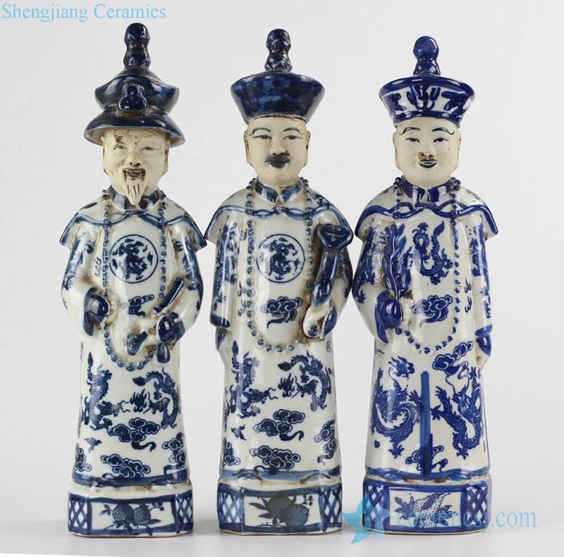 Medium size set of 3 blue and white emperors ceramic figurines