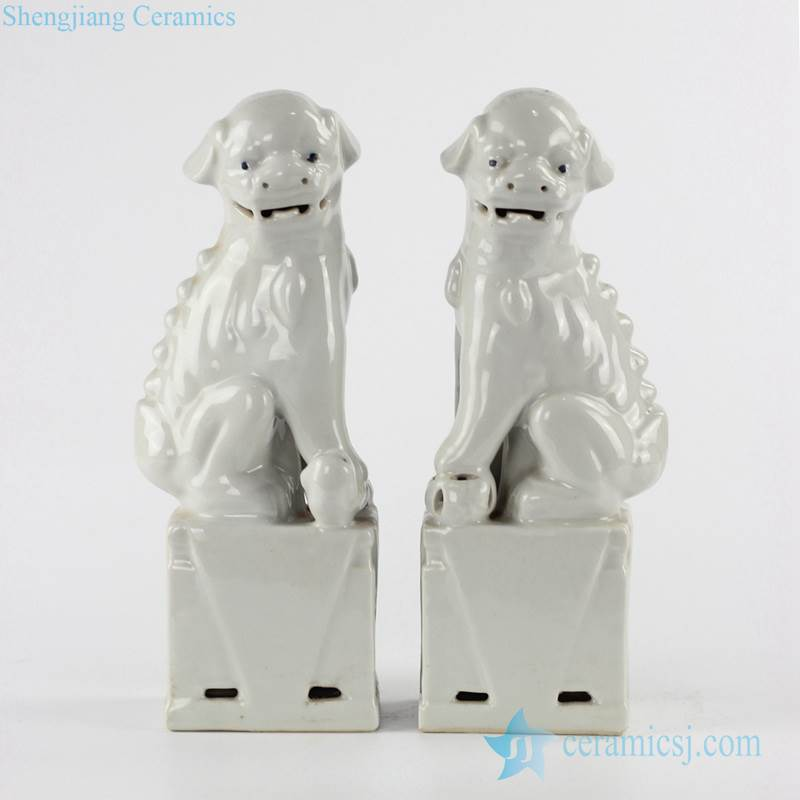 new arrival white glaze sitting pair foo dog ceramic figurine