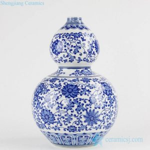 RZKD01 Floral and budding vine pattern calabash design shape ceramic household flower vase