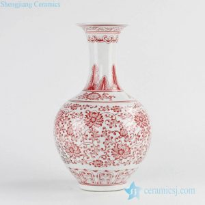 RZKD02 red painting floral pattern ceramic vase